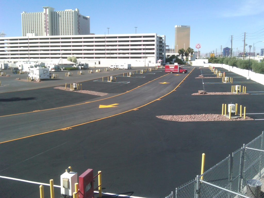 RV Lot pavements are often under-maintained due to the consistent usage of the available space.  However, when the opportunity presents itself it is necessary to seal and repair the asphalt to preserve the roads for as long as possible.